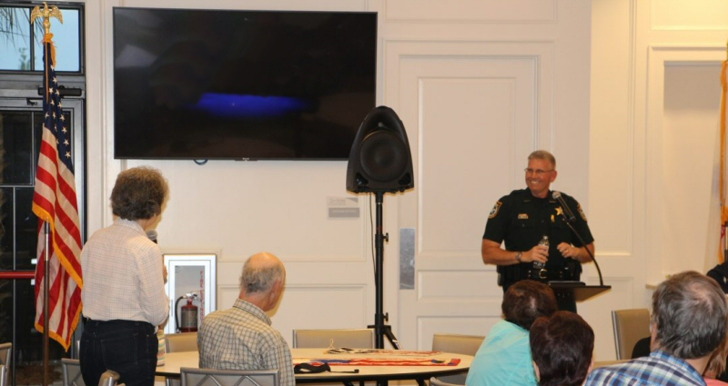Manatee County Sheriff Rick Wells answers audience questions at the Del Webb AVMS April 2018 monthly meeting